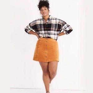Madewell Velvet A-Line Mini Skirt Button Front 16